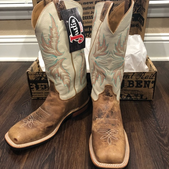 9ed4707b2ca38 Justin Boots Shoes | Justin Bent Rail Ivory Cowgirl Boots Squarewide ...